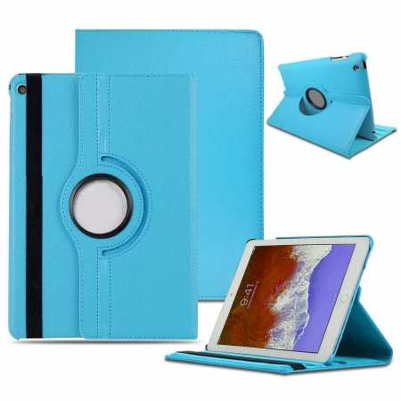 Leather Case For Apple iPad 7th Generation 360 Rotating Smart Cover - Light Blue