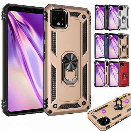 For Google Pixel 3a / 4 / 4 XL Shockproof Armor Tough Hard Phone Case with 360° Magnet Ring Stand