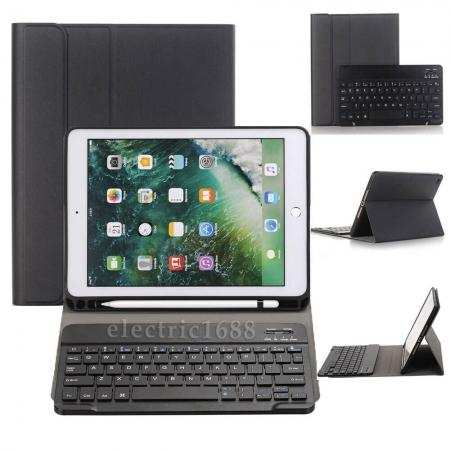 For iPad 7th Gen 2019 10.2 Keyboard Leather Case Cover w/Pencil Holder
