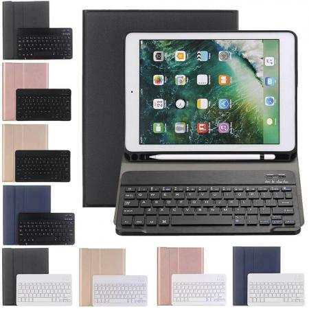 For iPad 7th 8th Gen 10.2 Keyboard Leather Case Cover w/Pencil Holder