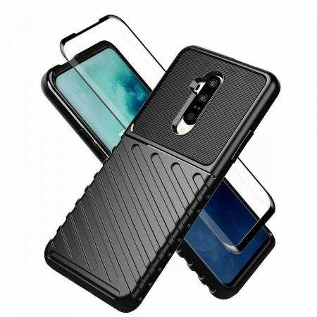 For OnePlus 7T Pro 5G McLaren - Shockproof Soft Case Cover With Tempered Glass Screen Protector