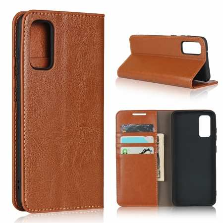 For Samsung Galaxy S20 - Genuine Leather Case Wallet Stand Flip Cover - Brown