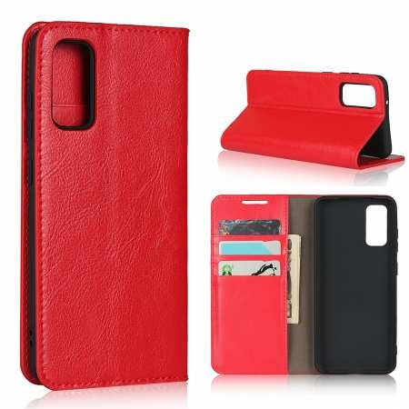 For Samsung Galaxy S20 - Genuine Leather Case Wallet Stand Phone Cover - Red