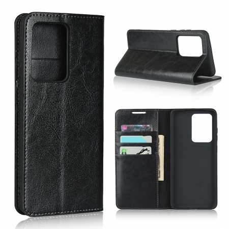 For Samsung Galaxy S20 Ultra - Genuine Leather Case Wallet Stand Phone Cover - Black