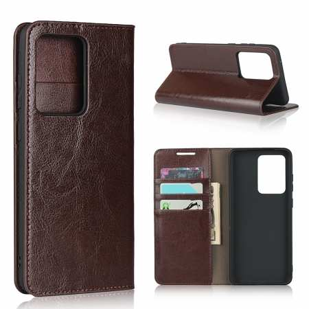 For Samsung Galaxy S20 Ultra - Genuine Leather Case Wallet Stand Phone Cover - Coffee