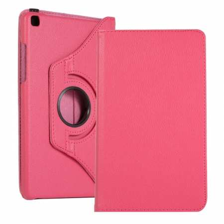 For Samsung Galaxy Tab A 8.0 2019 T290 T295 360 Rotating Stand Leather Case Cover - Hot Pink