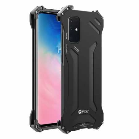 R-JUST Shockproof Aluminum Metal Case for Samsung Galaxy S20 Plus Ultra 5G - Black