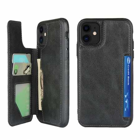 For iPhone 11 - Leather Wallet Card Holder Back Case Cover - Black