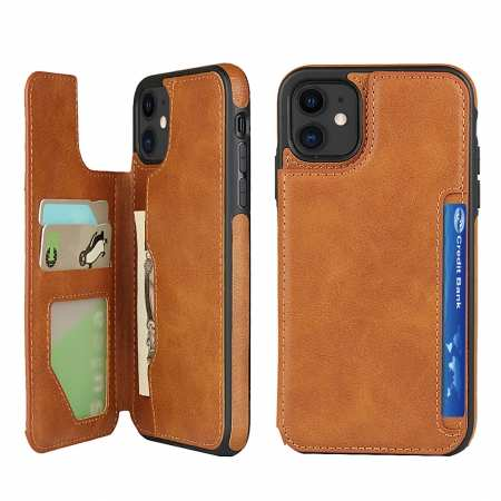 For iPhone 11 - Leather Wallet Card Holder Back Case Cover - Brown