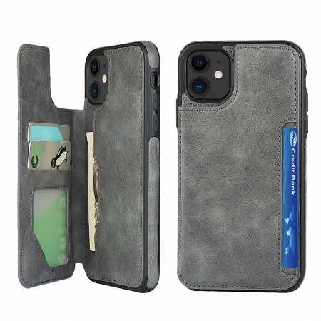 For iPhone 11 - Leather Wallet Card Holder Back Case Cover - Grey
