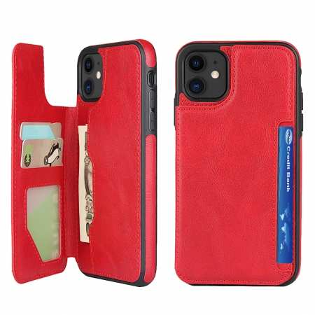 For iPhone 11 - Leather Wallet Card Holder Back Case Cover - Red