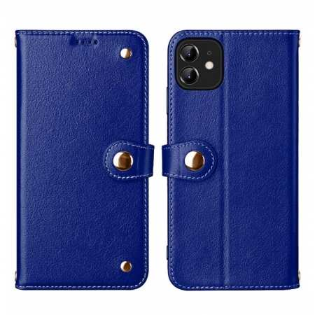 For iPhone 11 Pro Max 100% Genuine Leather Wallet Card Case Cover - Blue