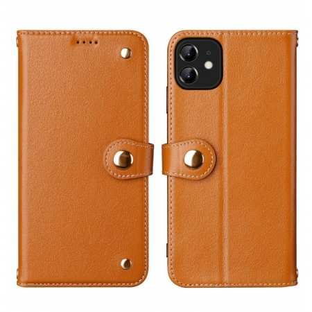 For iPhone 11 Pro Max 100% Genuine Leather Wallet Card Case Cover - Brown