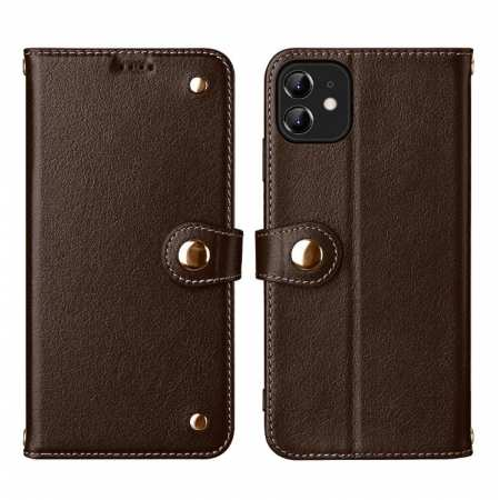 For iPhone 11 Pro Max 100% Genuine Leather Wallet Card Case Cover - Coffee