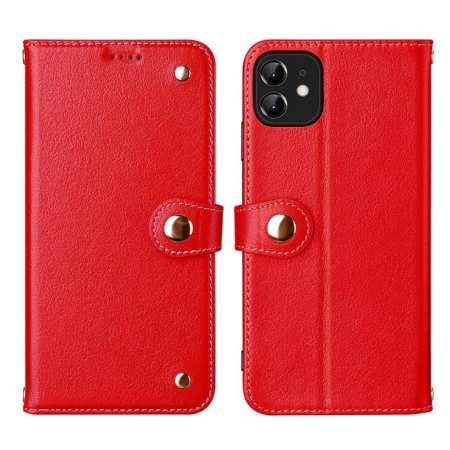 For iPhone 11 Pro Max 100% Genuine Leather Wallet Card Case Cover - Red