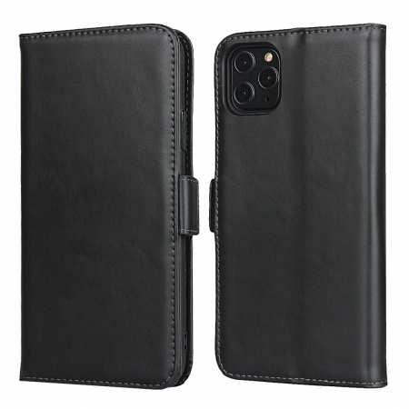 For iPhone 11 Pro Max - Genuine Leather Wallet Card Case Cover Stand - Black