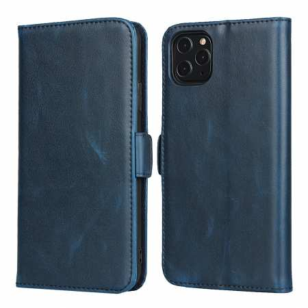 For iPhone 11 Pro Max - Genuine Leather Wallet Card Case Cover Stand - Dark Blue