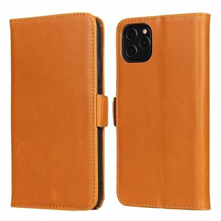 For iPhone 11 Pro Max - Genuine Leather Wallet Card Case Cover Stand - Light Brown