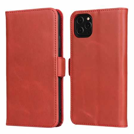 For iPhone 11 Pro Max - Genuine Leather Wallet Card Case Cover Stand - Red