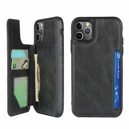 For iPhone 11 Pro Max - Leather Flip Wallet Card Holder Case Cover - Black