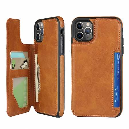 For iPhone 11 Pro Max - Leather Flip Wallet Card Holder Case Cover - Brown