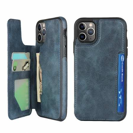 For iPhone 11 Pro Max - Leather Flip Wallet Card Holder Case Cover - Dark Blue