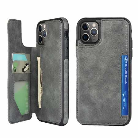 For iPhone 11 Pro Max - Leather Flip Wallet Card Holder Case Cover - Grey
