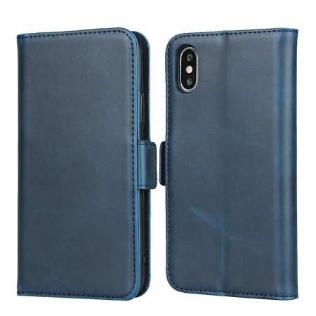 For iPhone XS X Genuine Leather Wallet Card Case Cover Stand - Dark Blue