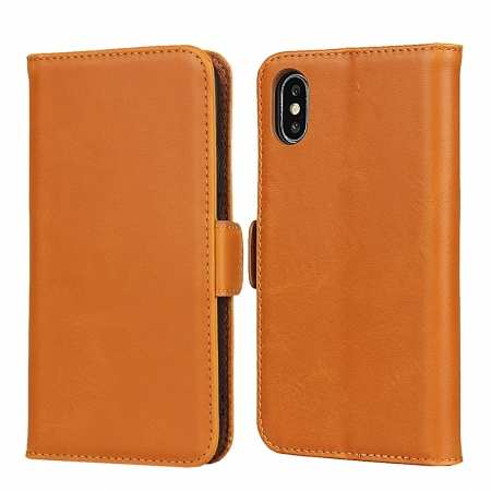For iPhone XS X Genuine Leather Wallet Card Case Cover Stand - Light Brown
