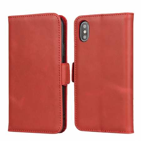 For iPhone XS X Genuine Leather Wallet Card Case Cover Stand - Red