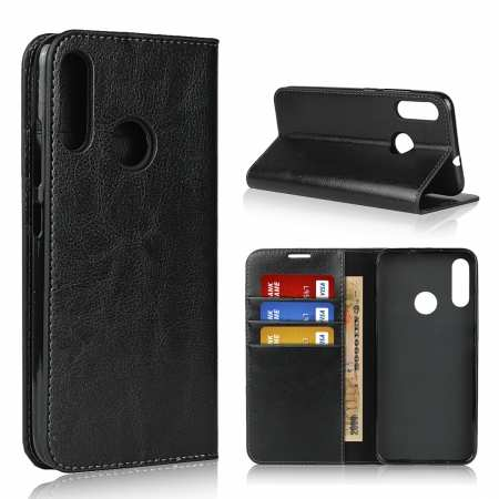 For Motorola Moto E6 Plus - Genuine Leather Case Wallet Stand Flip Cover - Black