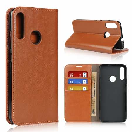 For Motorola Moto E6 Plus - Genuine Leather Case Wallet Stand Flip Cover - Brown