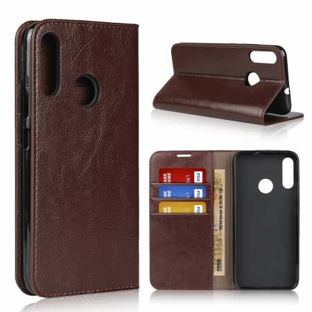 For Motorola Moto E6 Plus - Genuine Leather Case Wallet Stand Flip Cover - Coffee