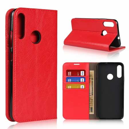 For Motorola Moto E6 Plus - Genuine Leather Case Wallet Stand Flip Cover - Red