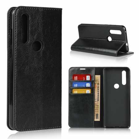 For Motorola Moto G8 - Genuine Leather Case Wallet Stand Flip Cover - Black