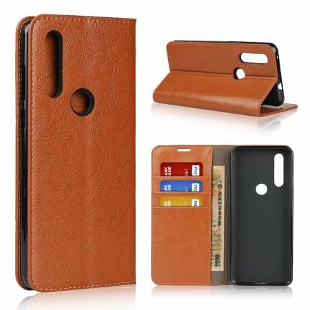 For Motorola Moto G8 - Genuine Leather Case Wallet Stand Flip Cover - Brown