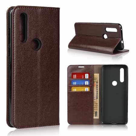 For Motorola Moto G8 - Genuine Leather Case Wallet Stand Flip Cover - Coffee