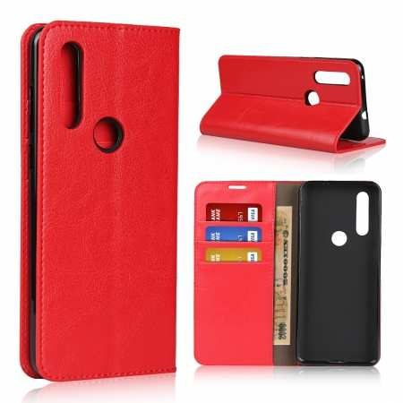 For Motorola Moto G8 - Genuine Leather Case Wallet Stand Flip Cover - Red