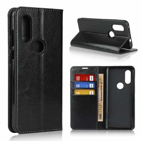 For Motorola Moto One Vision - Genuine Leather Case Wallet Stand Flip Cover - Black