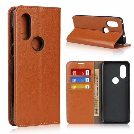 For Motorola Moto One Vision - Genuine Leather Case Wallet Stand Flip Cover - Brown