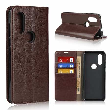 For Motorola Moto One Vision - Genuine Leather Case Wallet Stand Flip Cover - Coffee