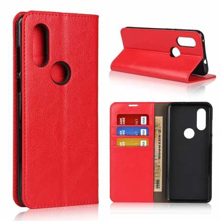 For Motorola Moto One Vision - Genuine Leather Case Wallet Stand Flip Cover - Red