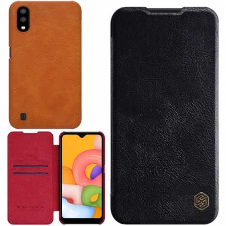 For Samsung Galaxy A01 - Nillkin Qin Leather Case Shockproof Card Slot Flip Case Cover