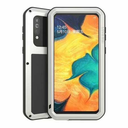 For Samsung Galaxy A40S - Love Mei Powerful Shockproof Aluminium Metal Cover Case  - Silver