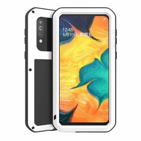 For Samsung Galaxy A40S - Love Mei Powerful Shockproof Aluminium Metal Cover Case  - White