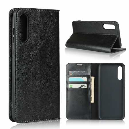 For Samsung Galaxy A70S - Genuine Leather Case Wallet Stand Flip Cover - Black
