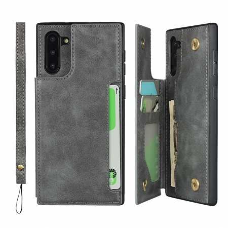 For Samsung Galaxy Note 10 - Leather Wallet Card Holder Back Case Cover - Grey