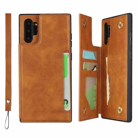 For Samsung Galaxy Note 10 Plus - Leather Wallet Card Holder Back Case Cover - Brown