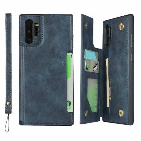 For Samsung Galaxy Note 10 Plus - Leather Wallet Card Holder Back Case Cover - Dark Blue