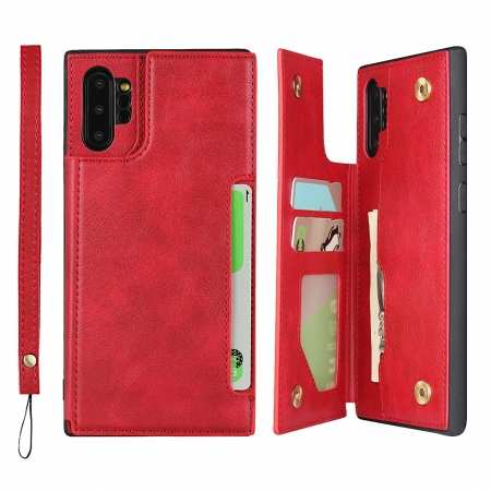 For Samsung Galaxy Note 10 Plus - Leather Wallet Card Holder Back Case Cover - Red